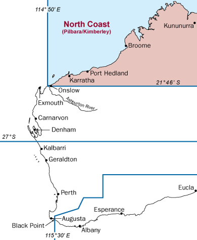Western Australia map with north coast bioregion highlighted